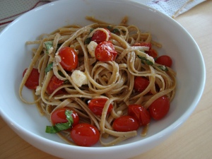 Finished Dish: Pasta with Garlic, Tomatoes, and Feta